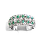 Ladies Diamond & Emeald Dress Ring 1