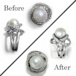 Full restoration. Worn area was rebuilt and reset with diamonds and a new pearl