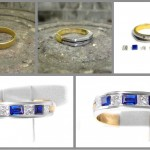 We added some diamonds and sapphires and a raised white gold channel