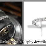 Setting the diamonds in the wedding ring