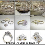 The customers full eternity ring was made into a double wedding ring and a halo was added to her engagement ring