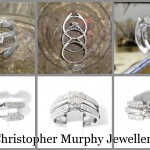 Making a raised shoulder diamond double wedding ring.