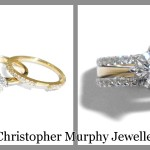 The engagement ring and double wedding ring are rhodium plated and fused together
